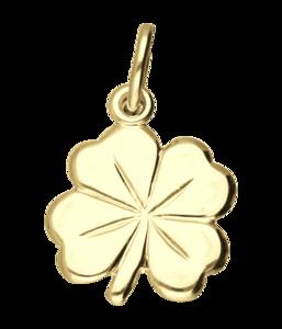 Gouden Klaverblad groot ketting hanger