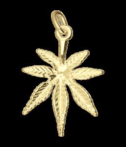Gouden Hennepblad wiet middel ketting hanger