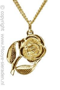 Gouden Roos ketting hanger