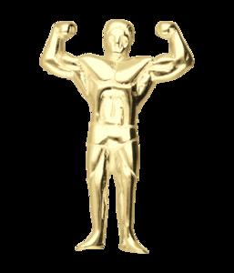 Gouden Bodybuilder 2 armen hoog ketting hanger