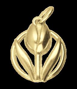 Gouden Tulp in cirkel ketting hanger