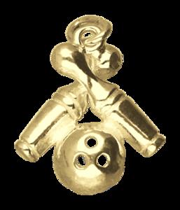 Gouden 2 Bowling pins met bal ketting hanger