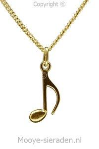 Gouden Muzieknoot losse vlag ketting hanger