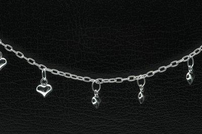 Zilveren 7 hartjes zilver Tiener armband - 16 cm