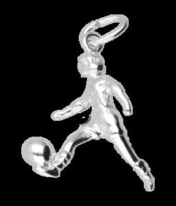 Zilveren Voetbalster ketting hanger