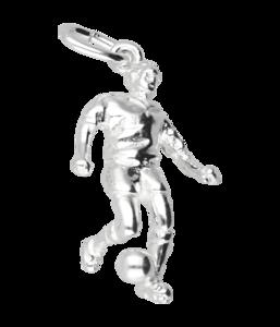 Zilveren Voetballer ketting hanger - 3