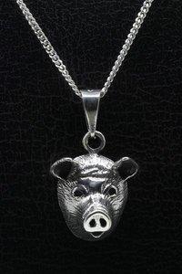 Zilveren Varkenskop ketting hanger