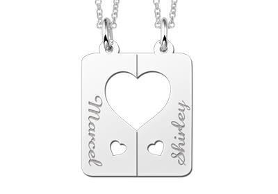 Zilveren graveerplaatje breekhanger Harten met hartje ketting hanger