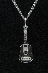 Zilveren Gitaar ketting hanger - 3