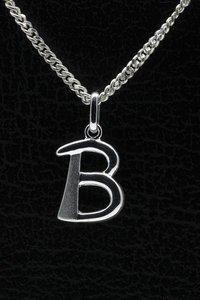 Zilveren Letter B ketting hanger - mat/glans
