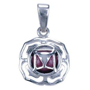 Zilveren Chakra Wortel ketting hanger - granaat