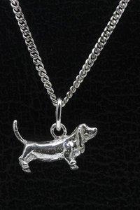 Zilveren Basset hound ketting hanger - klein