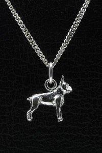 Zilveren Boston terrier ketting hanger - klein