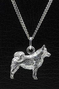 Zilveren IJslandse hond ketting hanger - groot