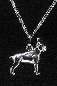 Zilveren Boston terrier ketting hanger - groot