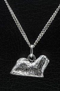 Zilveren ilhasa apso ketting hanger - groot