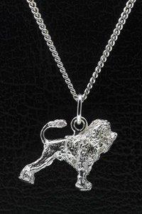 Zilveren Leeuwhondje ketting hanger - groot