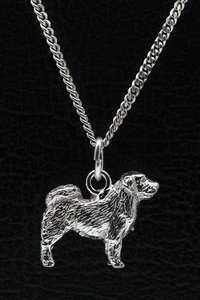 Zilveren Tibetaanse mastiff ketting hanger - groot
