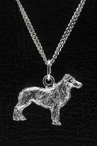 Zilveren Australische shepherd ketting hanger - groot