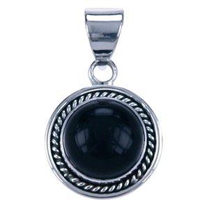 Zilveren Onyx rond met gladde rand ketting hanger