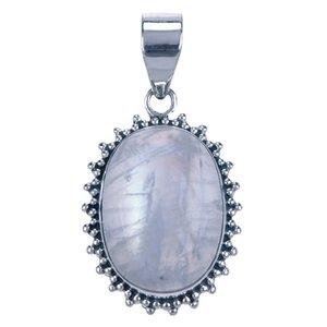Zilveren Maansteen ovaal met kartelrand ketting hanger