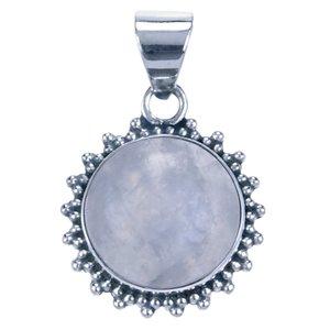 Zilveren Maansteen rond met kartelrand ketting hanger