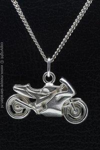 Zilveren Japanner racer vlak ketting hanger