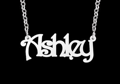 "Zilveren Naamketting Ashley"""""