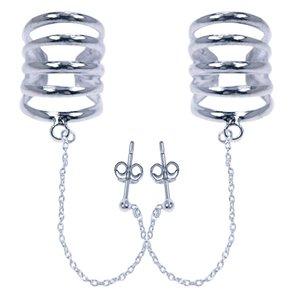 Zilveren 5 rings met ketting Oorklem