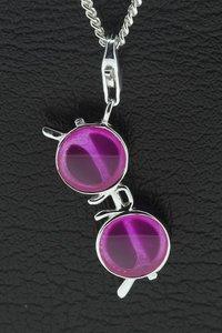 Zilveren Zonnebril met ronde glazen lila hanger én bedel