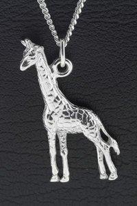 Zilveren Giraf groot ketting hanger