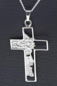 Zilveren Kruis met Jezus gezicht middel ketting hanger