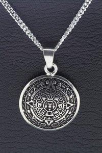 Zilveren Azteken kalender ketting hanger