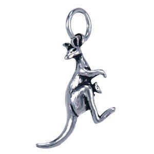 Zilveren Kangoeroe met baby ketting hanger