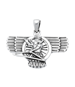Zilveren Assyrische God Ashur kettinghanger