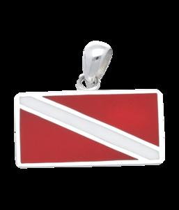 Zilveren Duikvlag rood-wit kettinghanger