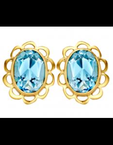 Gouden oorknoppen oorstekers klassiek aquamarijn