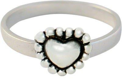 Zilveren Kinder ring maat 13 t/m 15 mm. met hart love you
