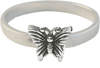 Zilveren Kinder ring maat 13 t/m 15 mm. met vlinder
