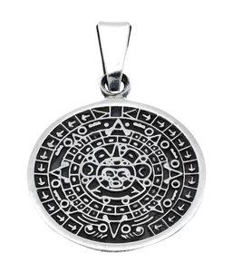 Zilveren Aztekenkalender kettinghanger