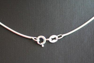 Zilveren ketting slang 1. fijn - dikte 1,0 mm - 42 cm