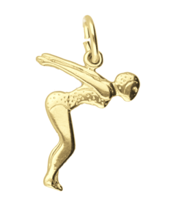 Gouden Zwemster startduik ketting hanger