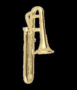 Gouden Trombone groot ketting hanger
