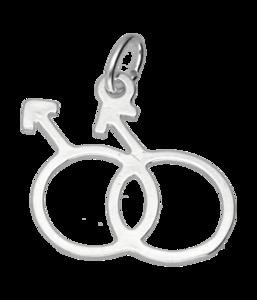 Zilveren Man/man teken ketting hanger